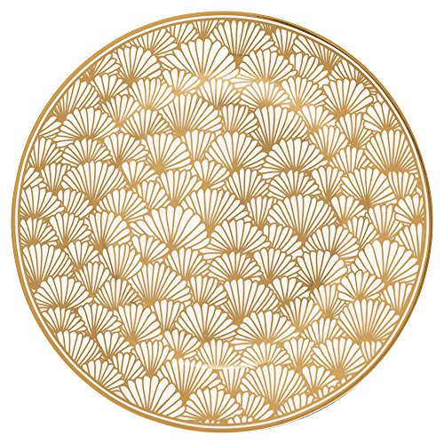 GreenGate Gate Noir - Teller, Kuchenteller, Frühstücksteller - Jacqueline Gold - Ø: 20 cm - Art Deco Muster Gold - Art Deco Porzellan
