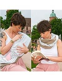 """L'écharpe-tube d'allaitement """"Beige Star"""" avec petites poches pour coussinetsd'allaitement. L-XL"""
