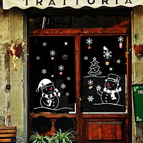 (Hukz Weihnachtsdeko Wandaufkleber Weihnachten Schneemann Removable Home Vinyl Fenster Wandaufkleber Abziehbild Dekor (farbe))