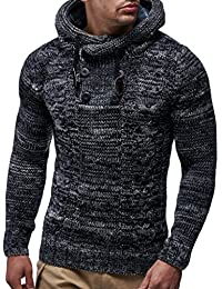 LEIF NELSON Men's Knitted Pullover Sweater Hoodie Jacket Long Sleeve Slim fit One Size - multicoloured