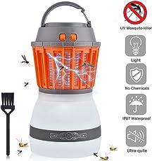 BASEIN monzana, Outdoor della zanzara Portable 2in 1di notte della lampada LED lampada ricaricabile Zapper Moskito impermeabile per camping [2018Versione aggiornata]