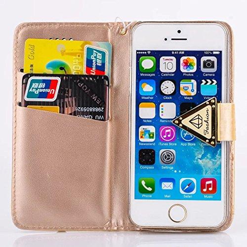 Apple iPhone 5C Cuir Housse de Coque en Portefeuille Protection Case Étui-Vandot iPhone 5C Bookstyle Étui [Anti Chocs Case][Anti Scratch Etui][Housse Protection] pour Apple iPhone 5C Coque + Bing Diam Luxe-Or