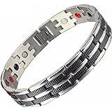 SSC - Bracciale Magnetico in Acciaio Inossidabile | argento lucido/Nero | Bracciale Magnetico (2000+ Gauss) | Gioiello anall