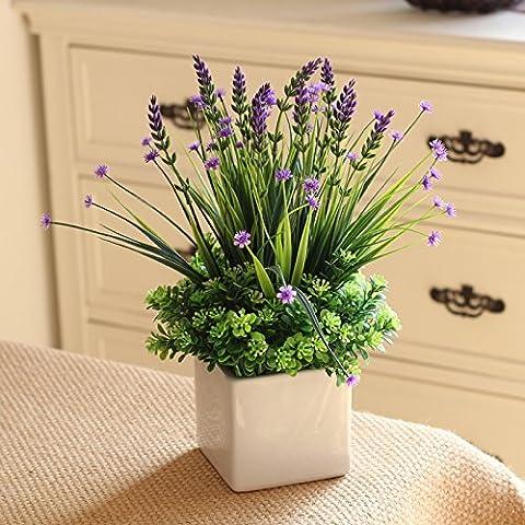 Künstliche Blumen Pflanzen Bonsai Plastikblumen Lila Kit dekorative Blumen Brautzusätze Kunst Kunsthandwerk Home Garten Dekoration By XHOPOS