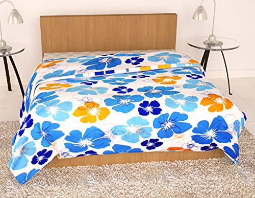 Story@Home Feather Touch Floral Microfibre Single Quilt - Sky Blue