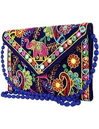 AL NOONE STAR Rajasthani Jaipuri Bohemian Art Sling Bag Blue Foldover Clutch Purse
