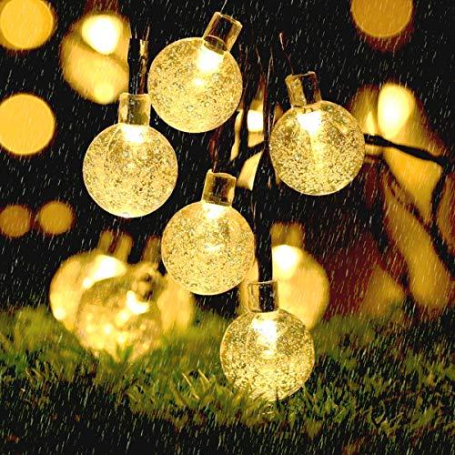 Solar Lichterkette aussen, B-right 40er Led Kristall Kugel Lichterkette, Lichterkette mit Lichtsensor, Solarbetriebene Lichterkette für Außen, Garten, Terrasse, Balkon, Party (Warmweiß)