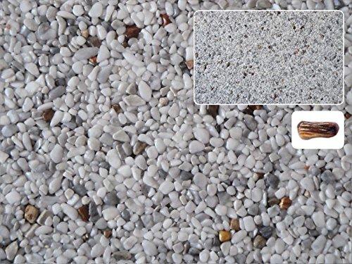 Natursteinteppich-Fliese Exclusive Dekor : HOLZ Hellgrau versetzt mit Heilstein Lignum - flexible Bodenfliese für Innen und Außen aus italienischem Marmorkies, Teppichfliese, Marmorteppich, Terassenboden - 1m² Paket (4 Stück 50x50 cm)