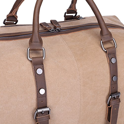 KAUKKO Weekender Handgepäck Reisetasche Canvas Sporttasche Vintage Segeltuch Holdall Reise Duffle Übernachtung Wochenende Satchel Handtaschen Apricot