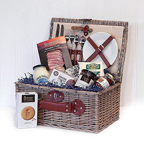 Organic Gourmet Food Selection Hamper Presented in a Cream Chiller Luxury 2 Person Fitted Picnic Hamper Basket - Gift ideas for Christmas presents, Birthday, Wedding, Anniversary and Corporate