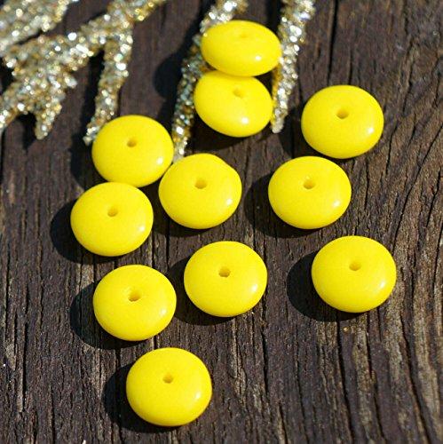Opak Gelb Tschechische Glas-Perlen Disc Scheibe Solo Flache Scheibe Distanzstück Ein Loch 6mm 60pcs -