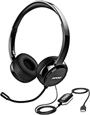 Mpow 071 USB Headset 3.5mm Aux Computer Headphone with Mic Noise Cancelling Wired Earphones for Business Conference Call Center VoIP Skype Lync Webex
