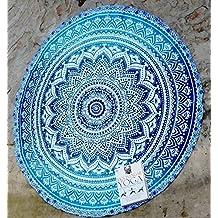 RawyalCrafts Beautiful Indian Mandala redondo Roundie Beach manta tapiz Hippy Boho Gypsy algodón alfombra de Yoga redonda