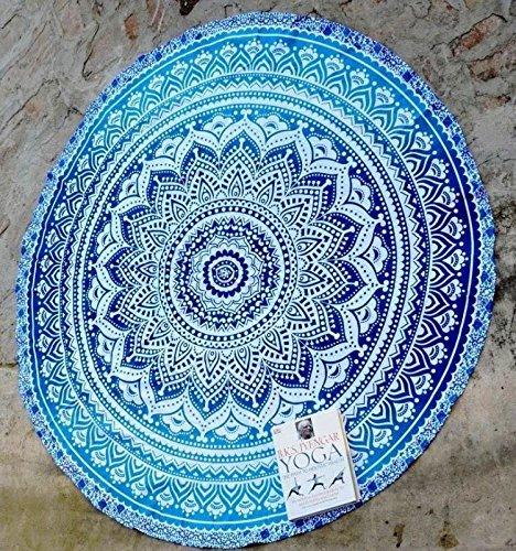 RawyalCrafts Alfombra redonda para yoga, diseño indio de mandala, man