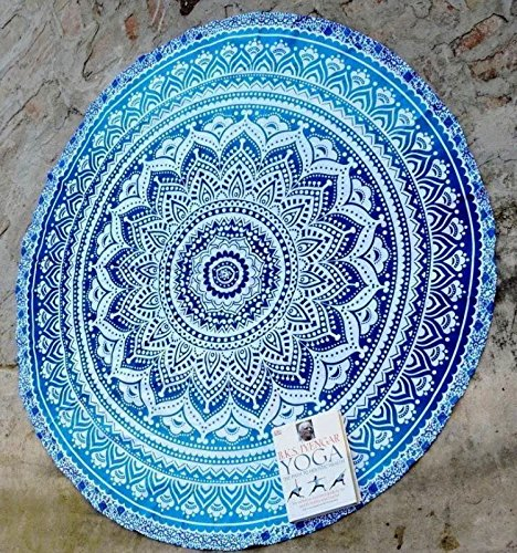 RawyalCrafts Alfombra redonda para yoga, diseño indio de mandala, manta, tapiz, jipi, bohemio, gitano, de algodón