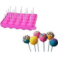 Binnan 20 Pièces avec Bâtons, Non Collant, Moules à Lollipop Plaque en silicone pour Faire Cake Pop Gâteaux Pâtisserie…