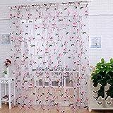 Tüll-Vorhang mit Blumen-Motiv, als Sichtschutz ,Ausbrennergardine für Wohnzimmer, Küche, 100x 200cm rose
