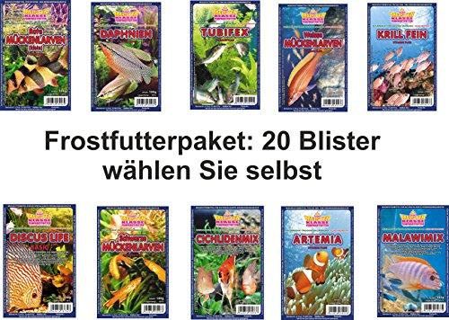 SAHAWA® Frostfutterpaket , 2 kg, 20 Blister á 100g , Zierfischfutter, Frostfutter, Fische, Barsche, Discus, Guppys, Goldfische -