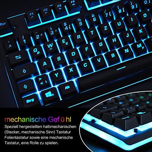 Gaming Tastatur mechanisches Gefühl Chroma RGB Beleuchtung und Vollhohen Tastenkappen Ergonomischen Design Business&Gaming-Tastatur Horsky, QWERTZ, Deutsche Layout  - 3
