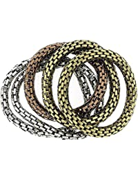 The Olivia Collection Maximum Metal 8mm Elasticated Stretch Bracelet 5 Pack