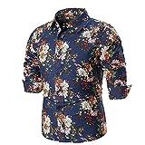 ZIYOU Herren Hemd Slim fit Button Down T-Shirts Für Anzug, Business, Hochzeit, Freizeit Langarm Geblümt Hemd für Männer,Größe M bis 4XL(L,Navy Blau)