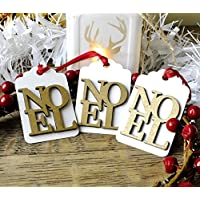 3 x Luxury Wooden Noel Christmas Gift Tags, Handmade Xmas Hang Tags in Red Ivory & Gold