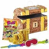 PartyMarty Pinata-Set: Pinata Schatztruhe + 144 Goldmünzen + Schläger + Maske + Süßigkeiten-Füllung