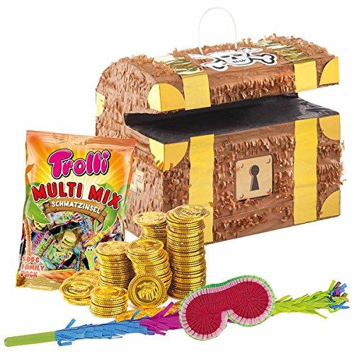 t: Pinata Schatztruhe + 144 Goldmünzen + Schläger + Maske + Süßigkeiten-Füllung ()