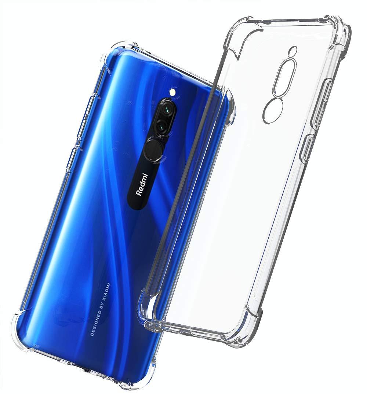 QHOHQ Funda para Xiaomi Redmi 8, Cases Silicona Thin Slim TPU Anti-caída Cuatro Esquinas para Xiaomi Redmi 8-Transparente