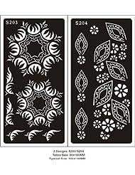 Mehndi Tatouage Pochoir pour le corps Mehndi Tatouages au henné s203 204 - à usage unique - 2 pièces - pour tatouage au henné, tatouage paillettes et aérographe tatouage