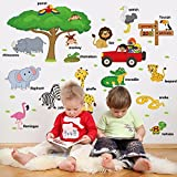 #8: UberLyfe Zoo Animals with Tree Wall Sticker (Wall Covering Area: 75cm x 108cm) - WS-001355