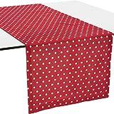 REDBEST Tischläufer, Tischdecke Punkte, 100% Baumwolle rot Größe 40x170 cm - Robustes, glattes Gewebe, mit Kuvertsaum (weitere Farben, Größen)