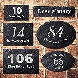 Placa de pizarra rústica para puerta de casa, número y nombre grabado con láser, personalizable