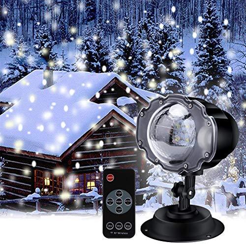LED Projektionslampe, ECOWHO 4 Modis Projektor Licht mit Fernbedienung Schneefall Lichteffekt IP65 Wasserdicht Schneeflocke Stimmungsbeleuchtung für Innen,Außen, Kinder, Weihnachten, ()