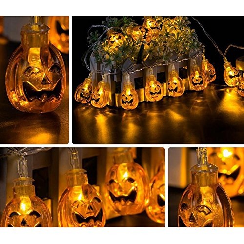 AIU 20er Halloween Lichterkette LED Kürbis String Licht Lampe Wasserdicht für Halloween Deko Pary Fasching ()