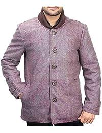 Bareskin men's brown self woven classic woolen coat