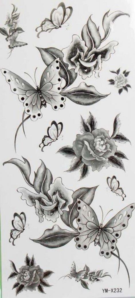 Fiori SPESTYLE impermeabile tatuaggio temporaneo non tossico stickersBlack e la farfalla tatuaggi te