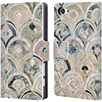 Official Micklyn Le Feuvre Art Deco Tiles In Soft Pastels Marble Patterns Leather Book Wallet Case Cover For Sony Xperia Z5 Compact