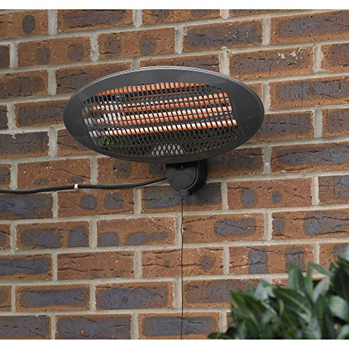 Kingfisher Wall Mounted Electric Patio Heater, Transparent, 50.5x16.5x25.2 cm