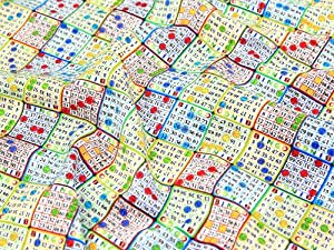 Premier de tissu en coton imprimé-cartes de Bingo-au mètre