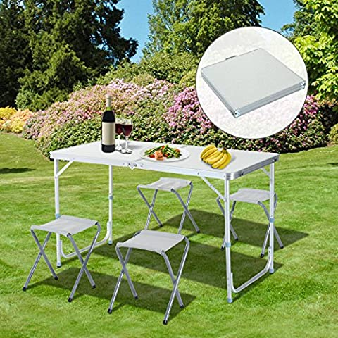 Table Hauteur Ajustable - Outsunny Table de Camping Pique-Nique Portable Pliante