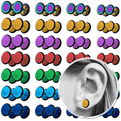 tumundo 1 Paire Faux Fake Plugs Piercing Fakeplug Tunnel Clous d'Oreille Disque Acier 10mm Tunnel Couleur Oreille Unisex golden / gold / en or
