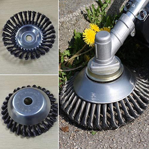 BGTOOL Brosse rotative pour désherbage en Fil d'acier 25,4 mm x 200 mm