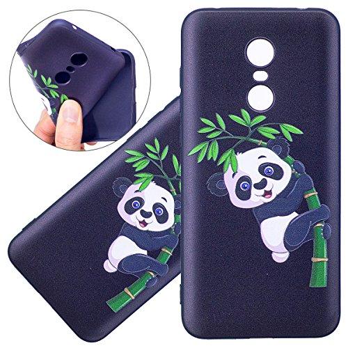 ISAKEN Funda para Xiaomi Redmi 5 Plus, Pintura Diseño Carcasa de Silicona TPU en Negro Resistente a Arañazos Trasera Bumper Protección Case Cover Funda Cáscara para Xiaomi Redmi 5 Plus (Panda Bambú)