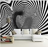 WAHAZC Große Wandbilder Seide Tapete 3D Wandgemälde schwarz weiß abstrakte schraube künstlerische hintergrund sofa tapete wandbild studie arcade 3d abstrakte wandbilder papier peint 3d TV hintergrun