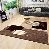 VIMODA Moderner Designer Teppich für Wohnzimmer Konturen in Beige Braun 120x170 cm