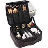 Travel Makeup Train Case for Women,Waterproof PU Leather Brown Cosmetic Bags Makeup Storage Cases Organizer with Adjustable D