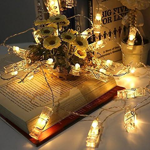 Elinker Lichterketten Foto strombetrieben, 40LED Bilder Klammern Lichterkette 5M mit Acht Mode Schalter für Party, Weihnachten, Dekoration, Hochzeit (Warmweiß)