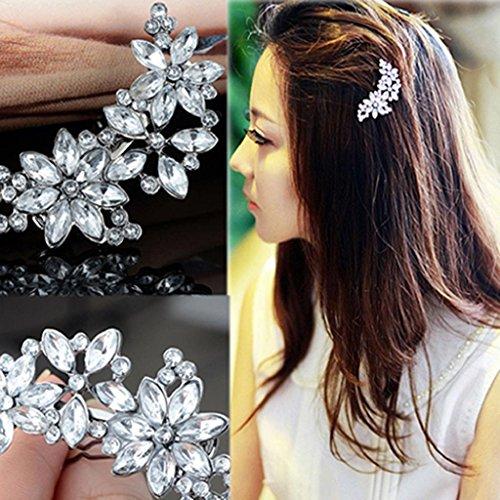 Damen Strass Blütenblätter Haar Clip Haarspange Jewelry