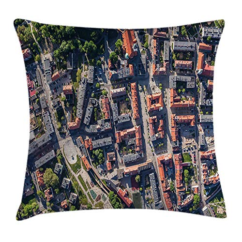 City Throw Pillow Cushion Cover, Aerial View of Olesnica in Poland Industrial Landscape Buildings Roads Trees, Decorative Square Accent Pillow Case, 26 X 26 inches, Salmon Grey Green -